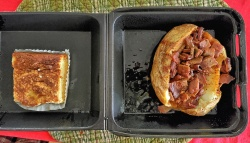 My Lunch & Dessert: Baked Potato w/ Chopped BBQ plus a Gooey Buttercake