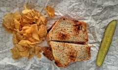 Mary's Lunch: Pimento Cheese [Not to Be Seen, But It Was a Lot] Sandwich (on Rye) w/ Chips & a Pickle
