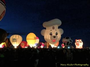 hot air balloons nightglow